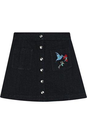 Джинсовая юбка А-силуэта с вышивкой | Фото №1