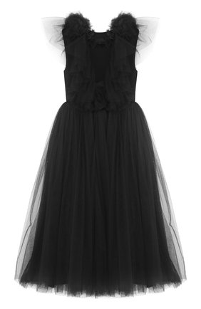 Платье из шелка и полиамида с многослойной юбкой и бантом на спине | Фото №1