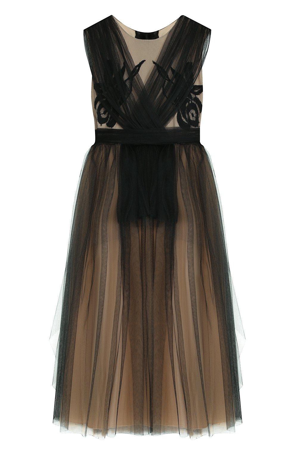 Детское платье из шелка и полиамида с плиссированной отделкой и бантом RHEA COSTA черного цвета, арт. BBY060/2-8 | Фото 1