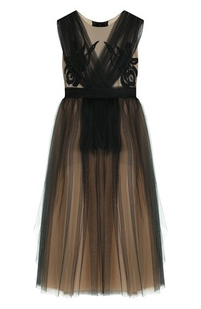 Платье из шелка и полиамида с плиссированной отделкой и бантом | Фото №1