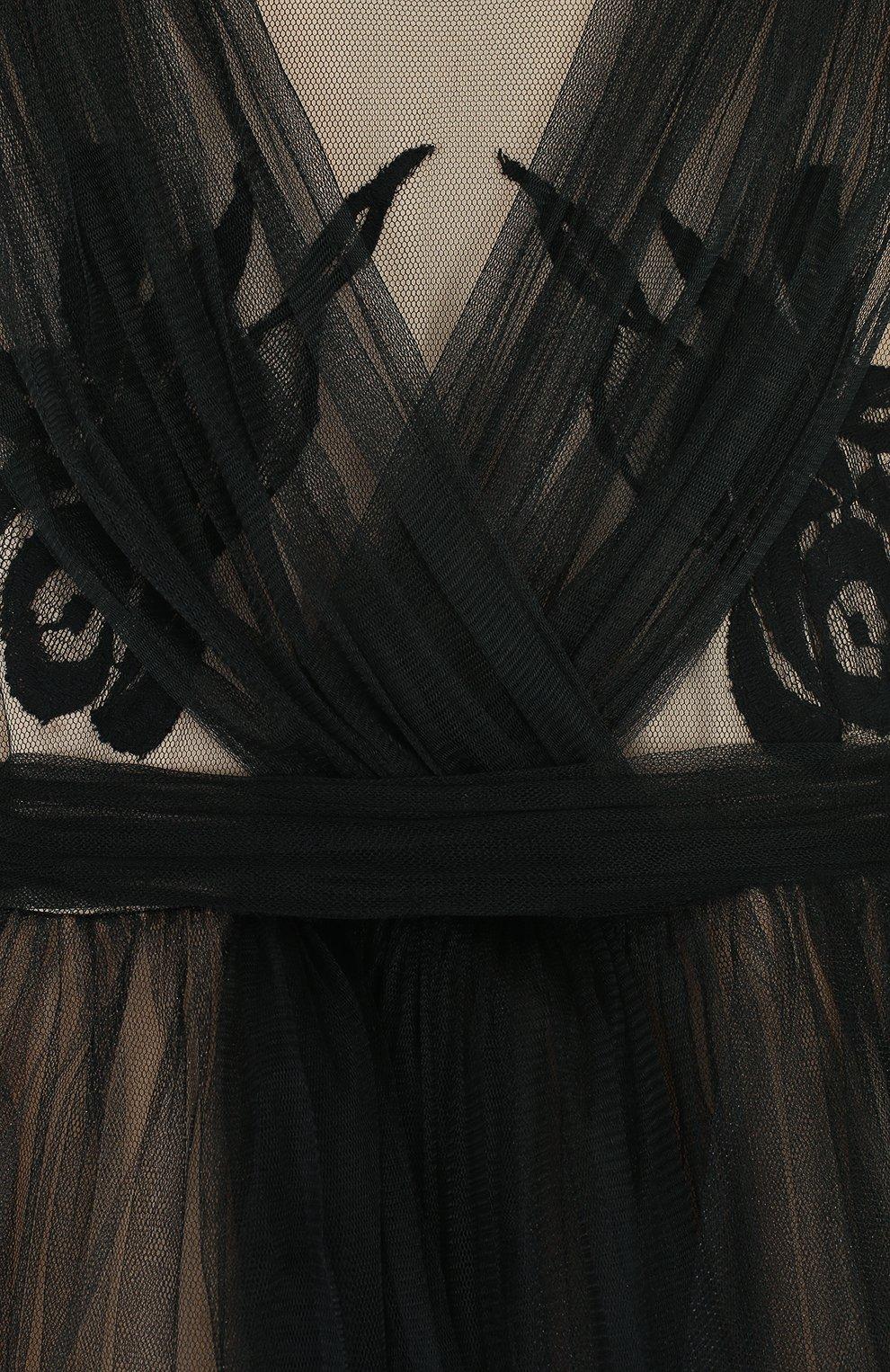 Детское платье из шелка и полиамида с плиссированной отделкой и бантом RHEA COSTA черного цвета, арт. BBY060/2-8 | Фото 3