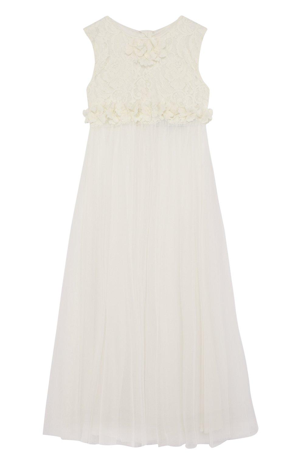 Детское многослойное платье из шелка и полиамида с кружевной отделкой RHEA COSTA бежевого цвета, арт. BBY031/10-14   Фото 1