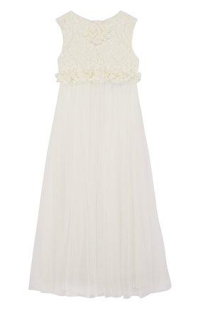Многослойное платье из шелка и полиамида с кружевной отделкой | Фото №1