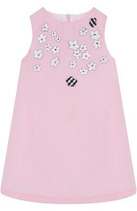 Мини-платье из полиэстера и хлопка А-силуэта с плиссированной вставкой на спине | Фото №1