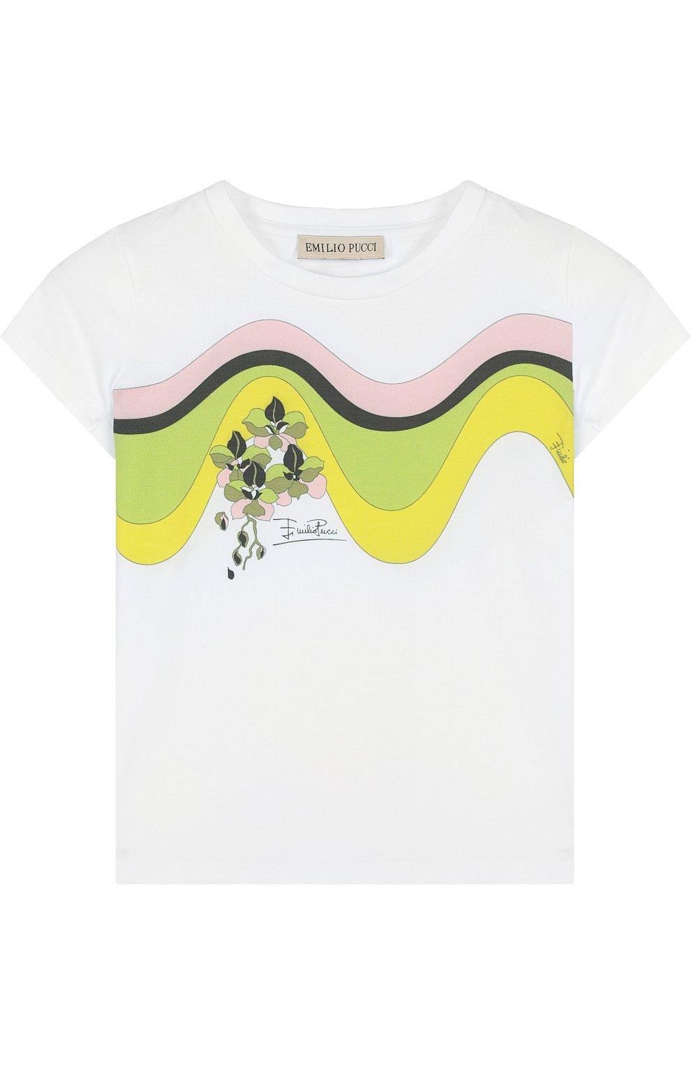 Детская хлопковая футболка с принтом EMILIO PUCCI белого цвета, арт. 9I8111/IA570/6-9 | Фото 1