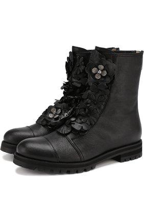 Женские кожаные ботинки havana с внутренней меховой отделкой  JIMMY CHOO черного цвета, арт. HAVANA FLAT/0FQ | Фото 1