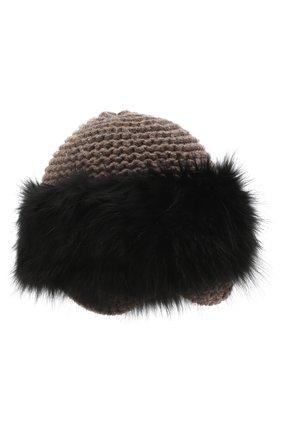 Вязаная шапка из кашемира с отделкой из меха лисы | Фото №1
