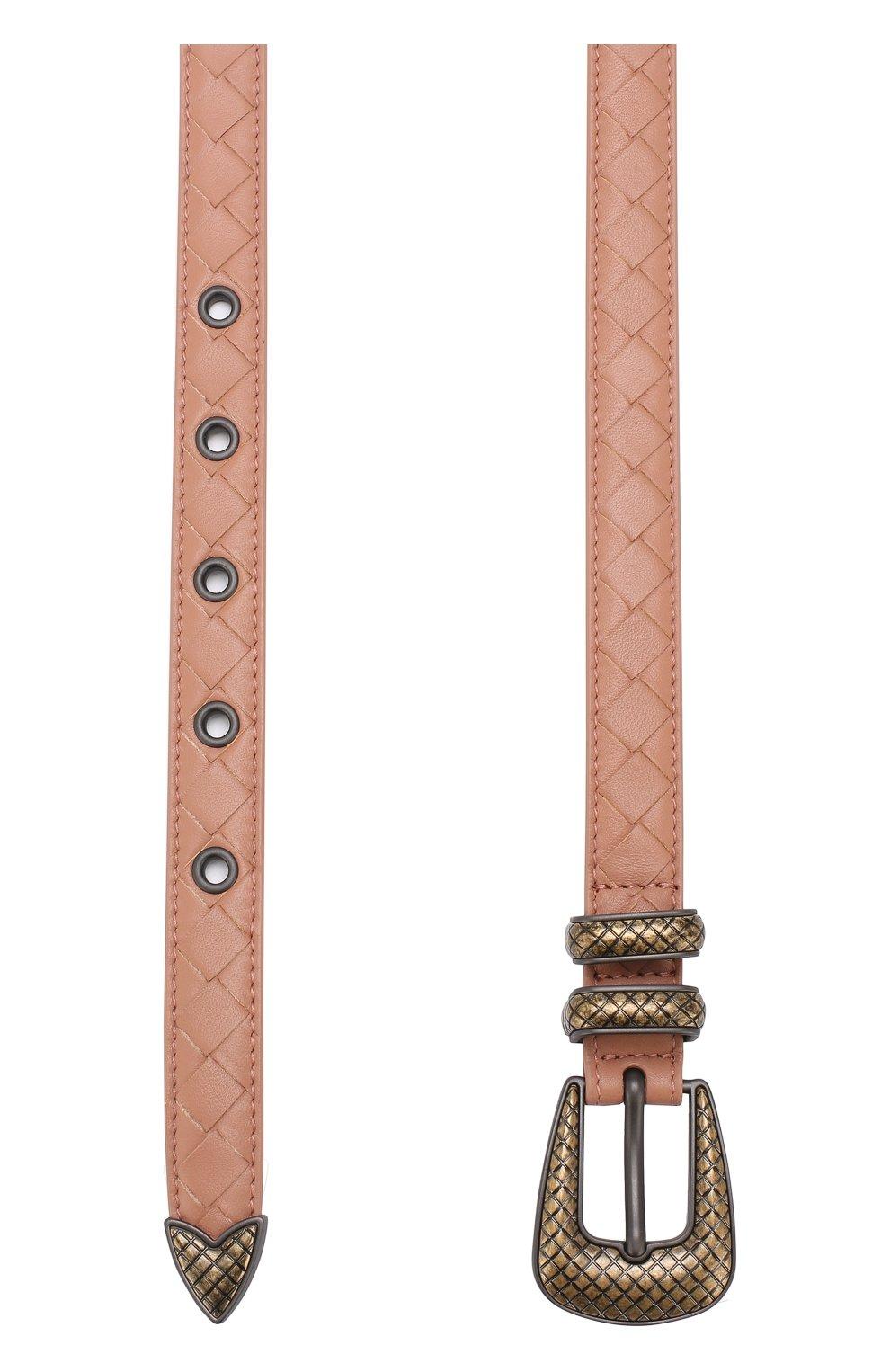 Женский кожаный ремень с плетением intrecciato и металлической пряжкой BOTTEGA VENETA розового цвета, арт. 510301/V00AT | Фото 2