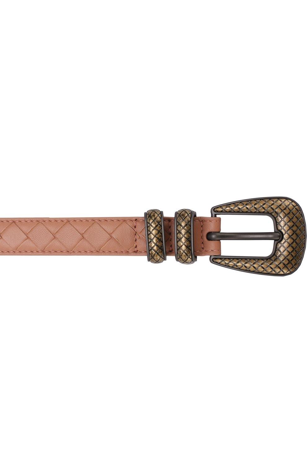 Женский кожаный ремень с плетением intrecciato и металлической пряжкой BOTTEGA VENETA розового цвета, арт. 510301/V00AT | Фото 3