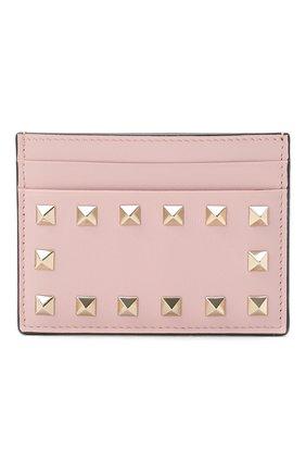 Женский кожаный футляр для кредитных карт valentino garavani rockstud VALENTINO светло-розового цвета, арт. PW0P0486/B0L | Фото 1