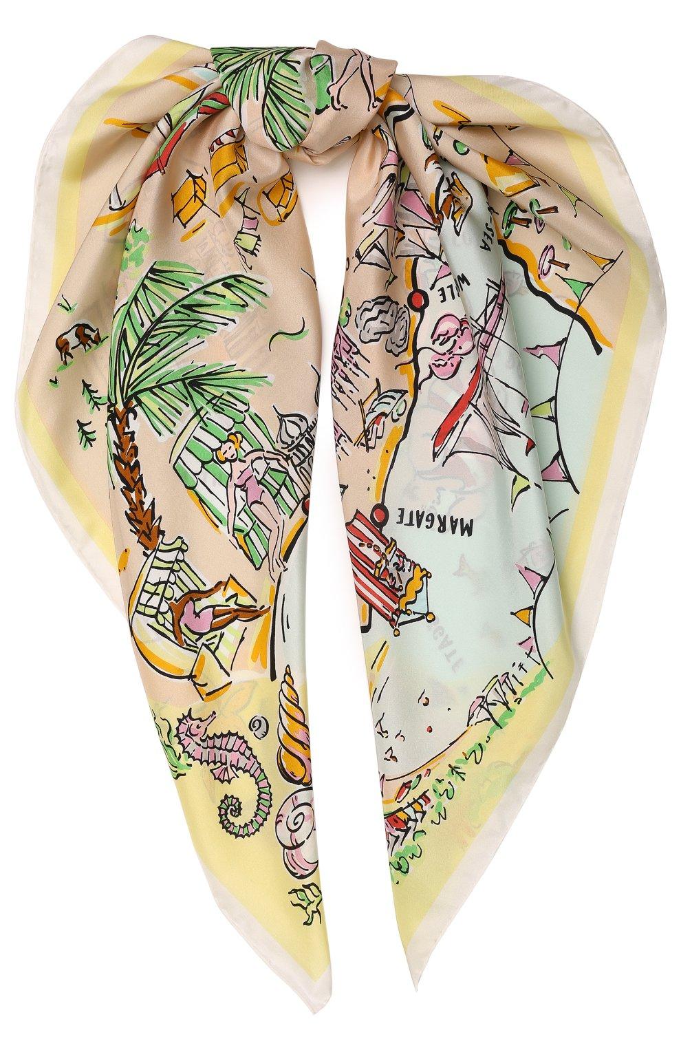 Женский шелковый платок с принтом seaside BURBERRY желтого цвета, арт. 4066522   Фото 1