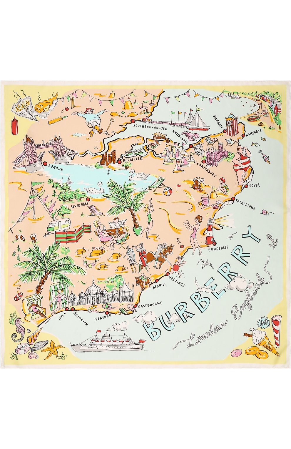Женский шелковый платок с принтом seaside BURBERRY желтого цвета, арт. 4066522   Фото 3