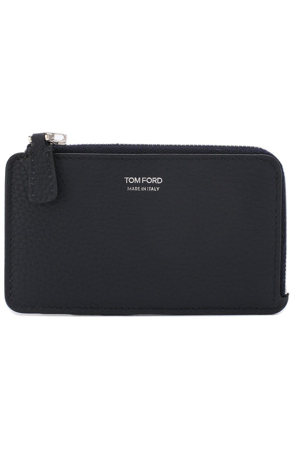 Мужской кожаный футляр для кредитных карт с отделением для монет TOM FORD темно-синего цвета, арт. Y0238P-C95 | Фото 1