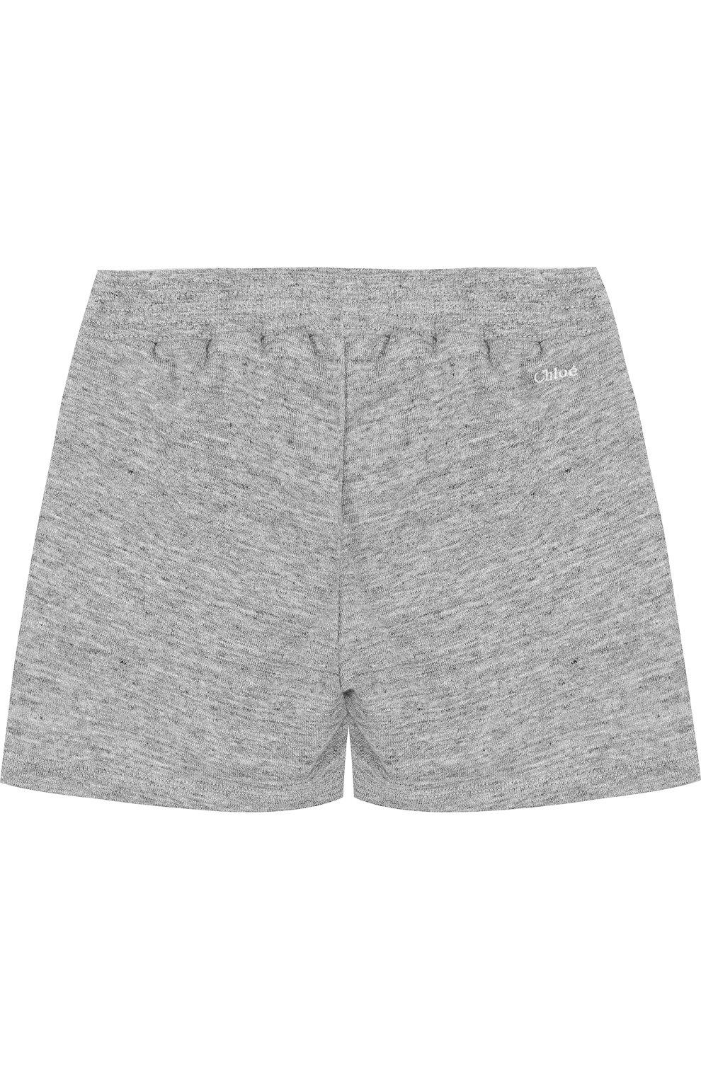 Детские хлопковые шорты CHLOÉ серого цвета, арт. C14545/14A | Фото 2