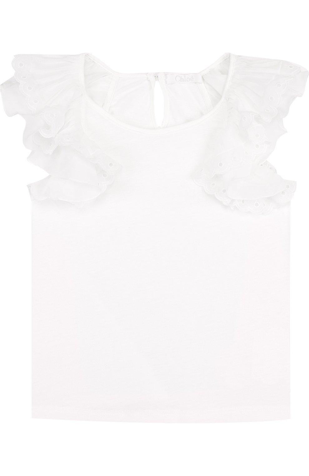 Детский топ джерси с кружевными оборками CHLOÉ белого цвета, арт. C15668/14A | Фото 1