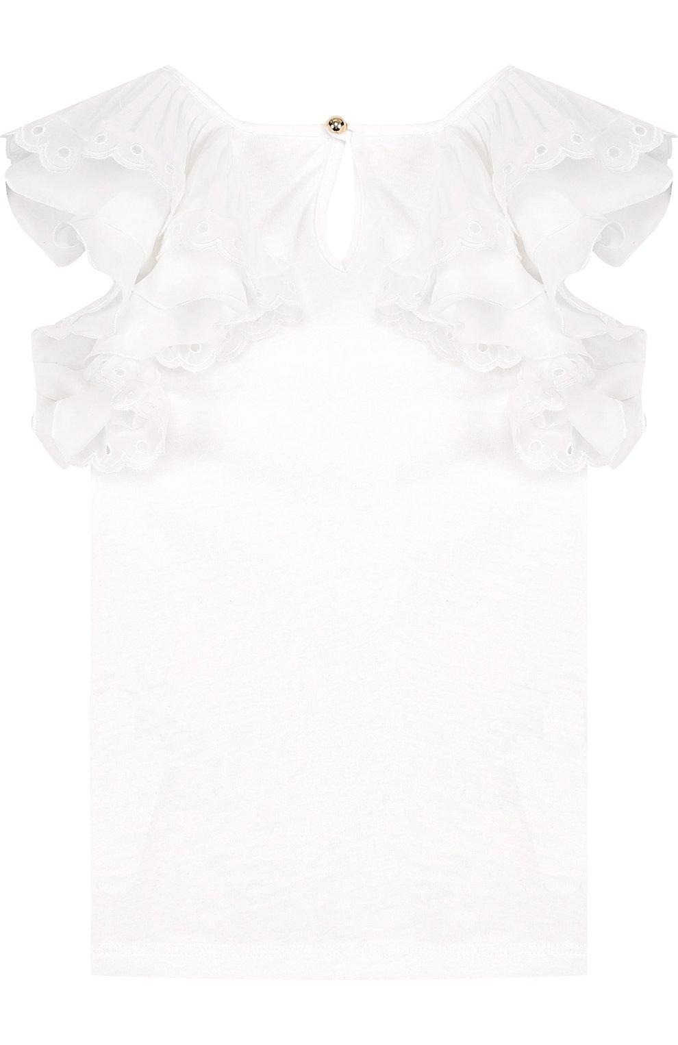 Детский топ джерси с кружевными оборками CHLOÉ белого цвета, арт. C15668/14A | Фото 2