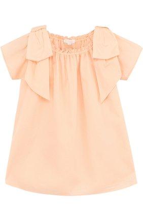 Женский хлопковое платье свободного кроя с бантами CHLOÉ розового цвета, арт. C02189/3M-18M | Фото 1