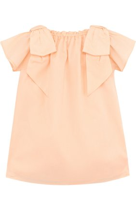 Женский хлопковое платье свободного кроя с бантами CHLOÉ розового цвета, арт. C02189/3M-18M | Фото 2