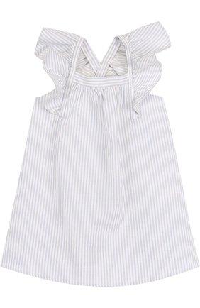 Платье из смеси хлопка и льна с открытыми плечами | Фото №1