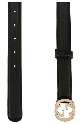 Женский кожаный ремень с фигурной пряжкой GUCCI черного цвета, арт. 370717/AP00G | Фото 2