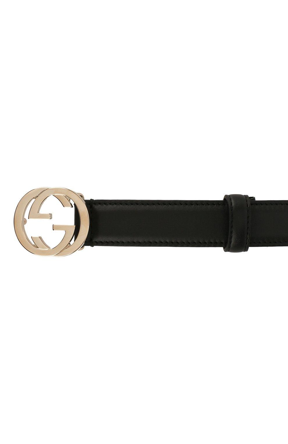 Женский кожаный ремень с фигурной пряжкой GUCCI черного цвета, арт. 370717/AP00G | Фото 3