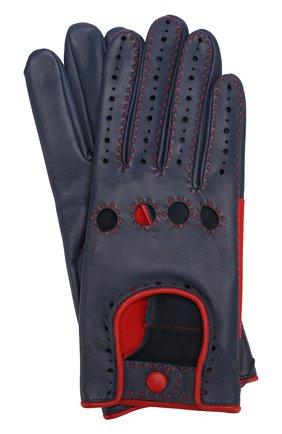 Кожаные перчатки с контрастной прострочкой | Фото №1