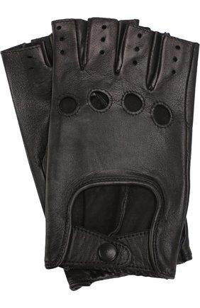 Женские кожаные митенки с перфорацией AGNELLE черного цвета, арт. FAYEDC | Фото 1