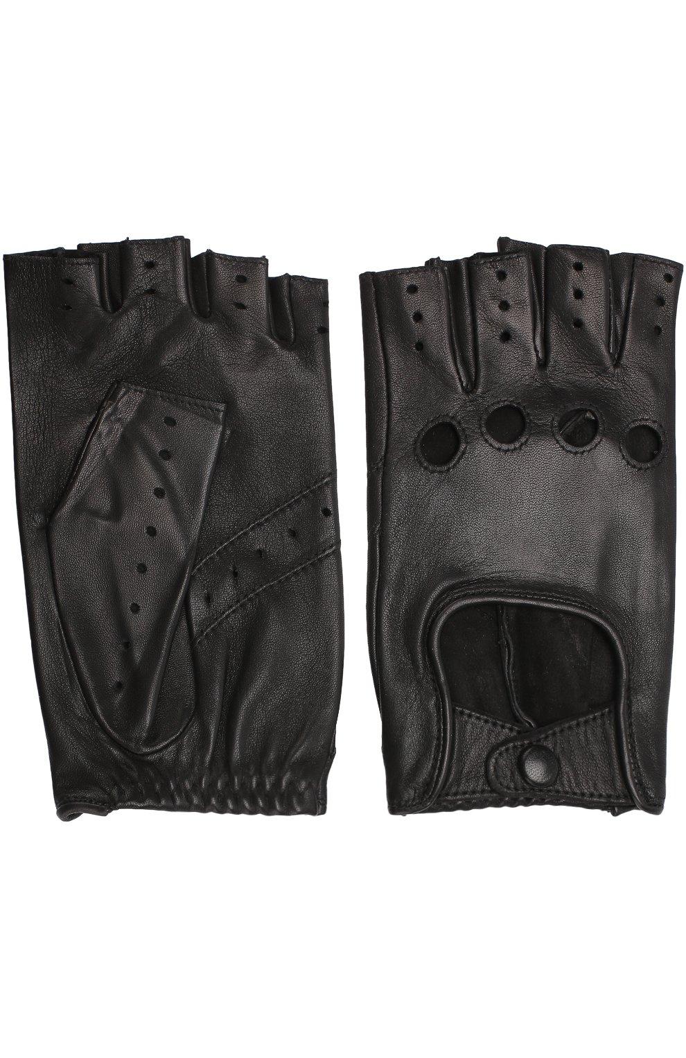 Женские кожаные митенки с перфорацией AGNELLE черного цвета, арт. FAYEDC | Фото 2