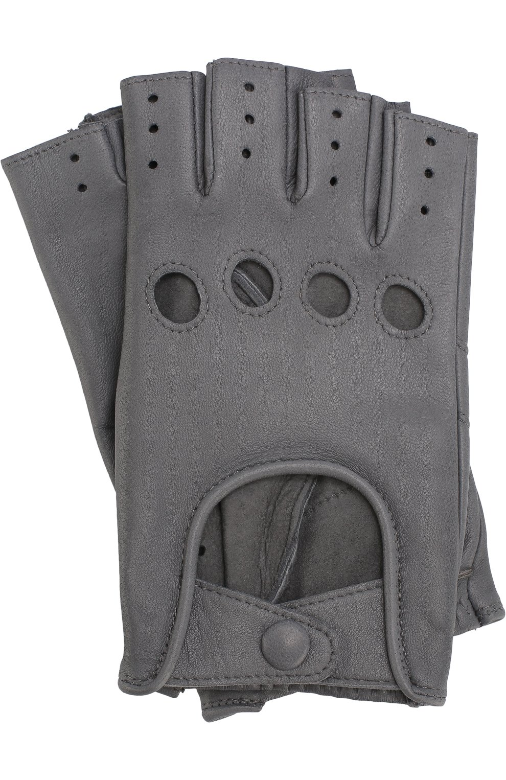 Женские кожаные митенки с перфорацией AGNELLE серого цвета, арт. FAYEDC | Фото 1