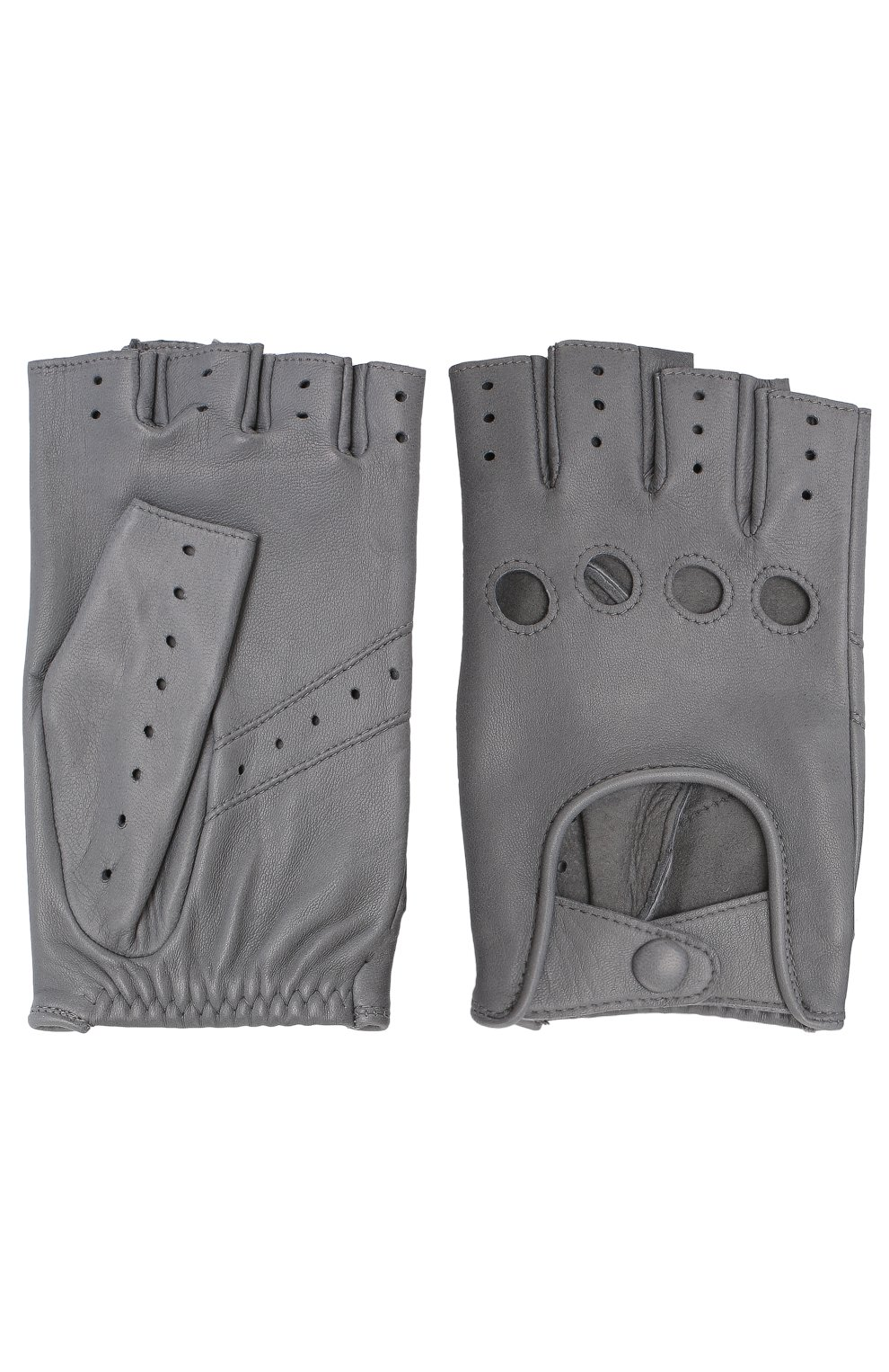 Женские кожаные митенки с перфорацией AGNELLE серого цвета, арт. FAYEDC | Фото 2