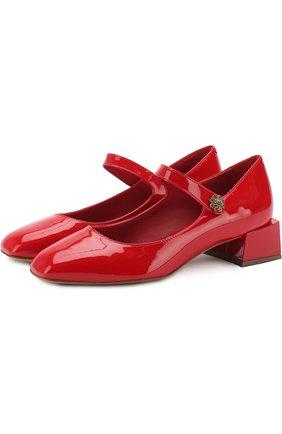 Лаковые туфли с фигурным каблуком и перемычкой | Фото №1