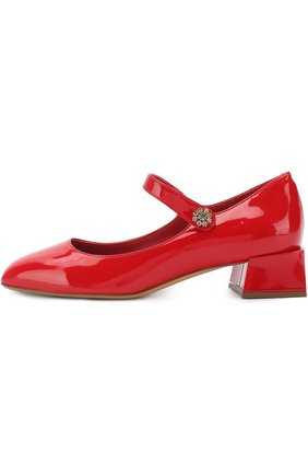 Лаковые туфли с фигурным каблуком и перемычкой | Фото №2