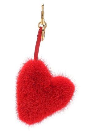 Брелок из меха норки в виде сердца Anya Hindmarch красный | Фото №1