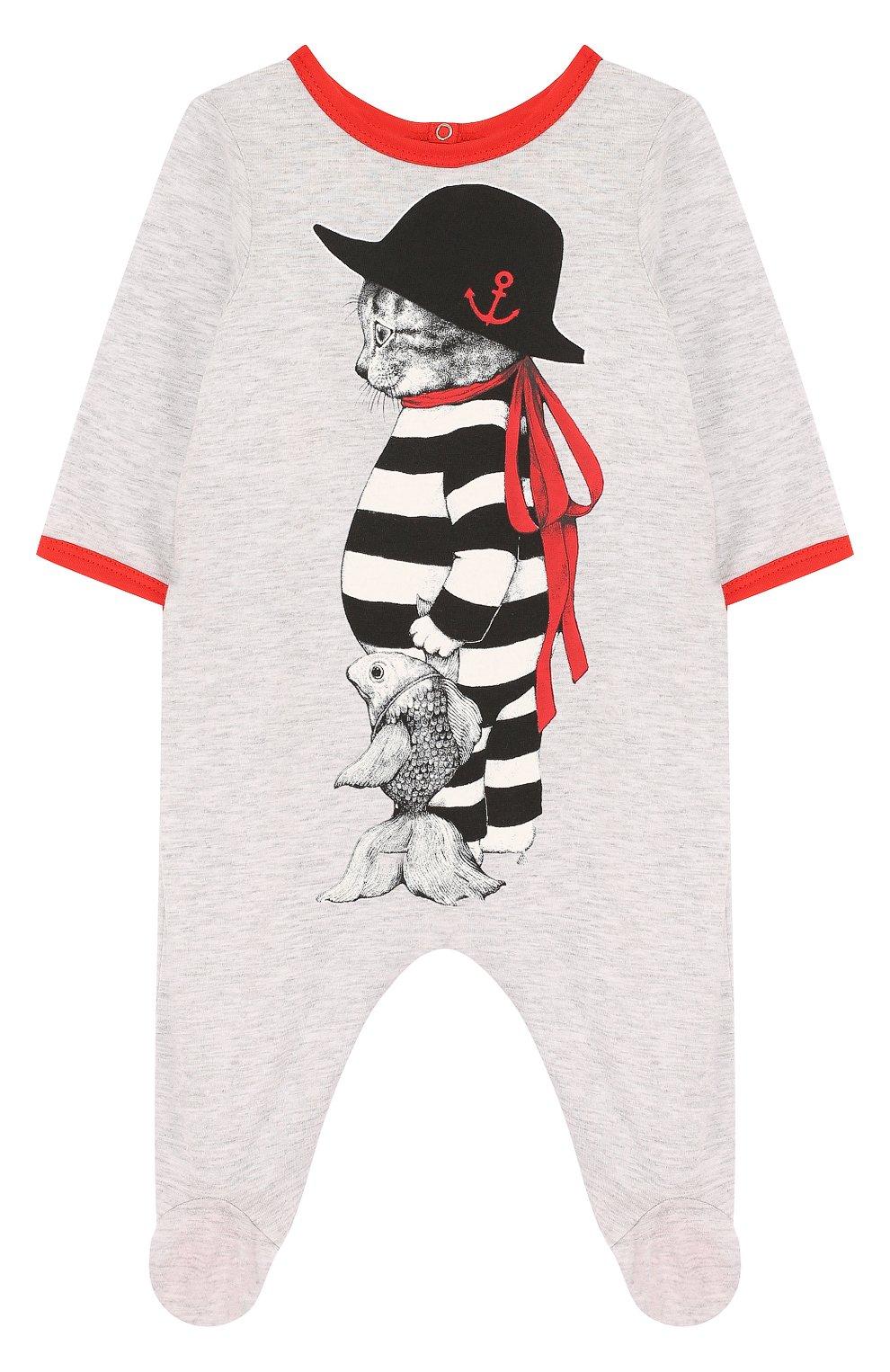 Детский хлопковая пижама с принтом GUCCI светло-серого цвета, арт. 497862/X9M00   Фото 1