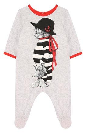 Хлопковая пижама с принтом   Фото №1