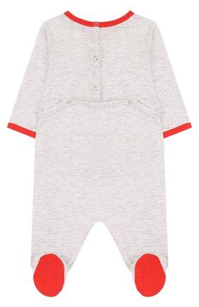 Детский хлопковая пижама с принтом GUCCI светло-серого цвета, арт. 497862/X9M00   Фото 2