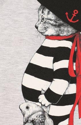 Детский хлопковая пижама с принтом GUCCI светло-серого цвета, арт. 497862/X9M00   Фото 3