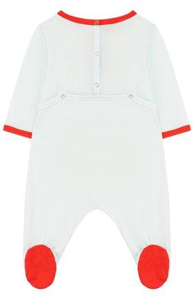 Детский хлопковая пижама с принтом GUCCI голубого цвета, арт. 497862/X9M00 | Фото 2