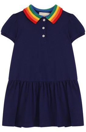 Детское хлопковое мини-платье с вышивкой на спине и контрастным воротником GUCCI синего цвета, арт. 503470/X9000 | Фото 1