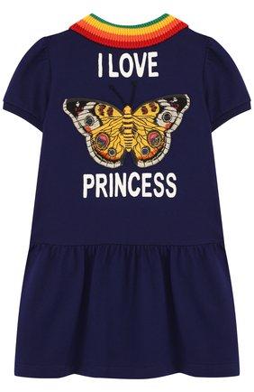 Детское хлопковое мини-платье с вышивкой на спине и контрастным воротником GUCCI синего цвета, арт. 503470/X9000 | Фото 2