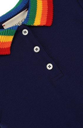 Детское хлопковое мини-платье с вышивкой на спине и контрастным воротником GUCCI синего цвета, арт. 503470/X9000 | Фото 3