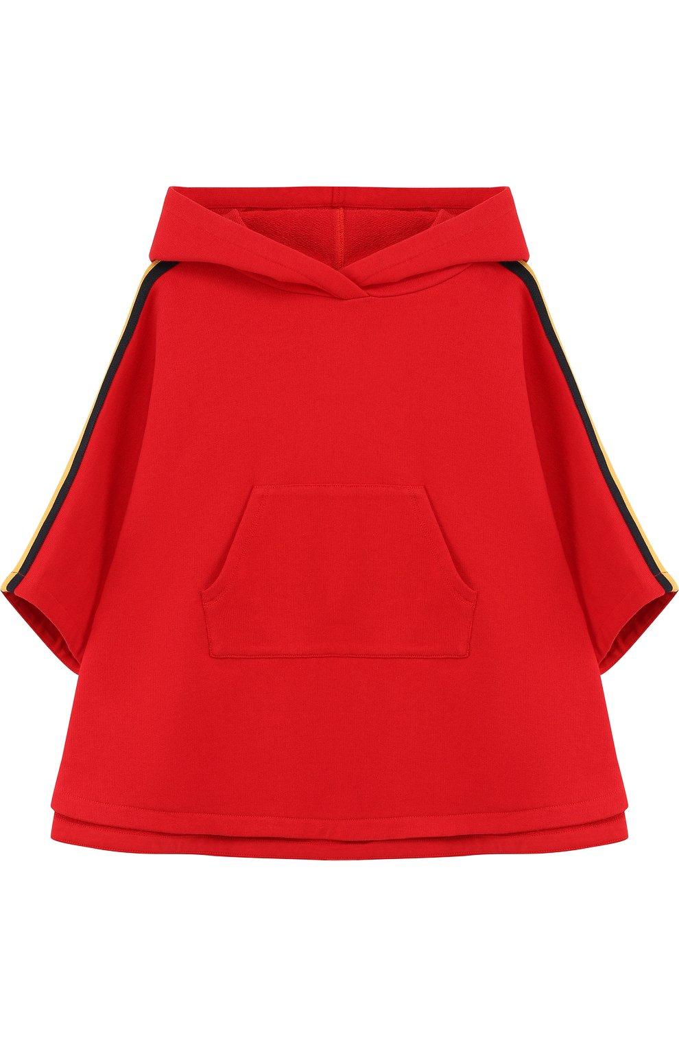 Детское пончо с капюшоном и принтом на спине GUCCI красного цвета, арт. 503669/X9006 | Фото 1