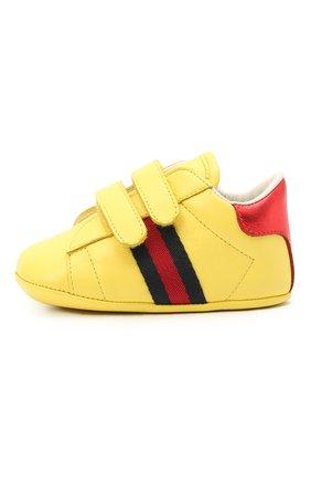 Детского кожаные пинетки GUCCI желтого цвета, арт. 500852/BKPT0 | Фото 2
