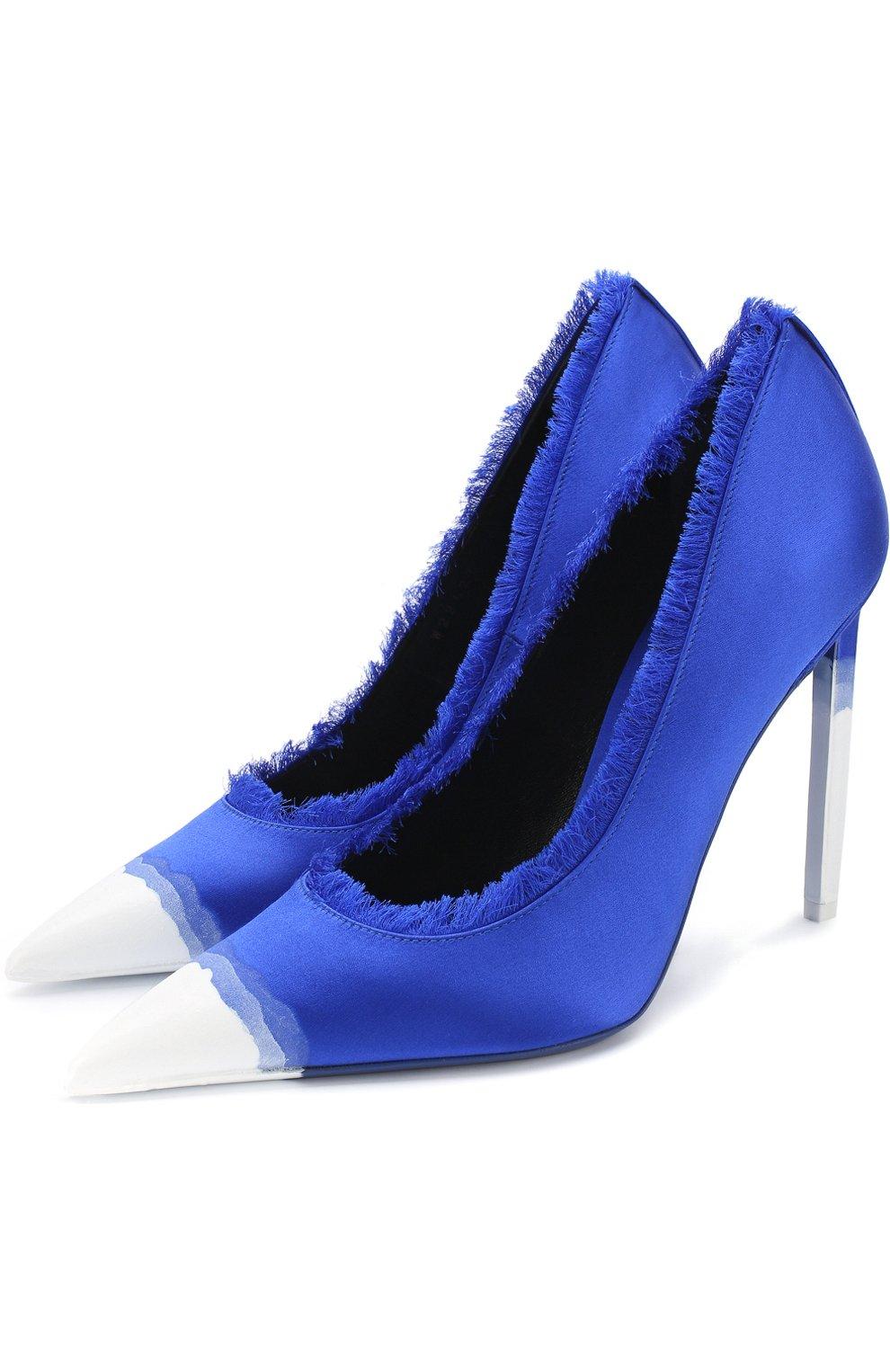 Женские шелковые туфли frayed с бахромой на шпильке TOM FORD синего цвета, арт. W2242T-SDY | Фото 1