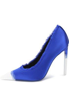 Женские шелковые туфли frayed с бахромой на шпильке TOM FORD синего цвета, арт. W2242T-SDY | Фото 3