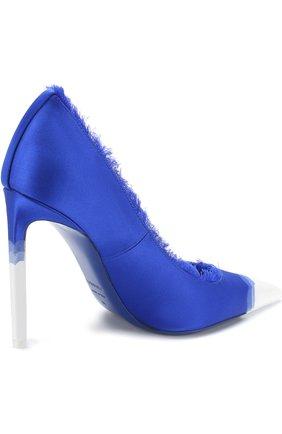 Женские шелковые туфли frayed с бахромой на шпильке TOM FORD синего цвета, арт. W2242T-SDY | Фото 4