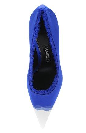 Женские шелковые туфли frayed с бахромой на шпильке TOM FORD синего цвета, арт. W2242T-SDY | Фото 5