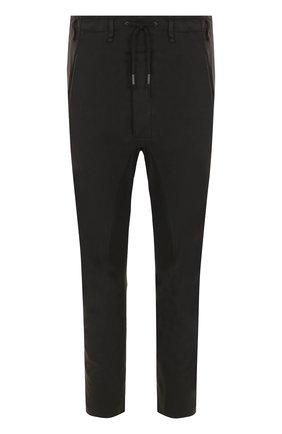 Хлопковые брюки прямого кроя Masnada черные | Фото №1
