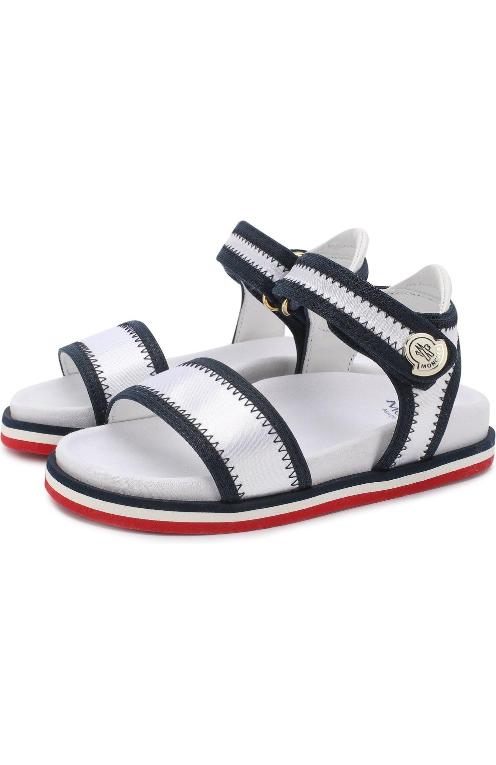 Детские текстильные сандалии с застежками велькро MONCLER ENFANT белого цвета, арт. D1-954-00474-00-019ED | Фото 1