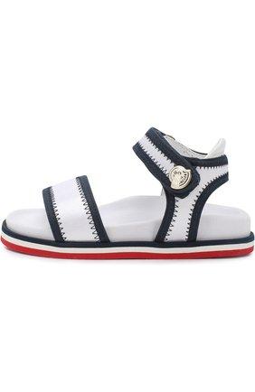 Детские текстильные сандалии с застежками велькро MONCLER ENFANT белого цвета, арт. D1-954-00474-00-019ED | Фото 2
